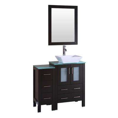 36 in. W Single Bath Vanity with Tempered Glass Vanity Top in Green with White Basin and Mirror