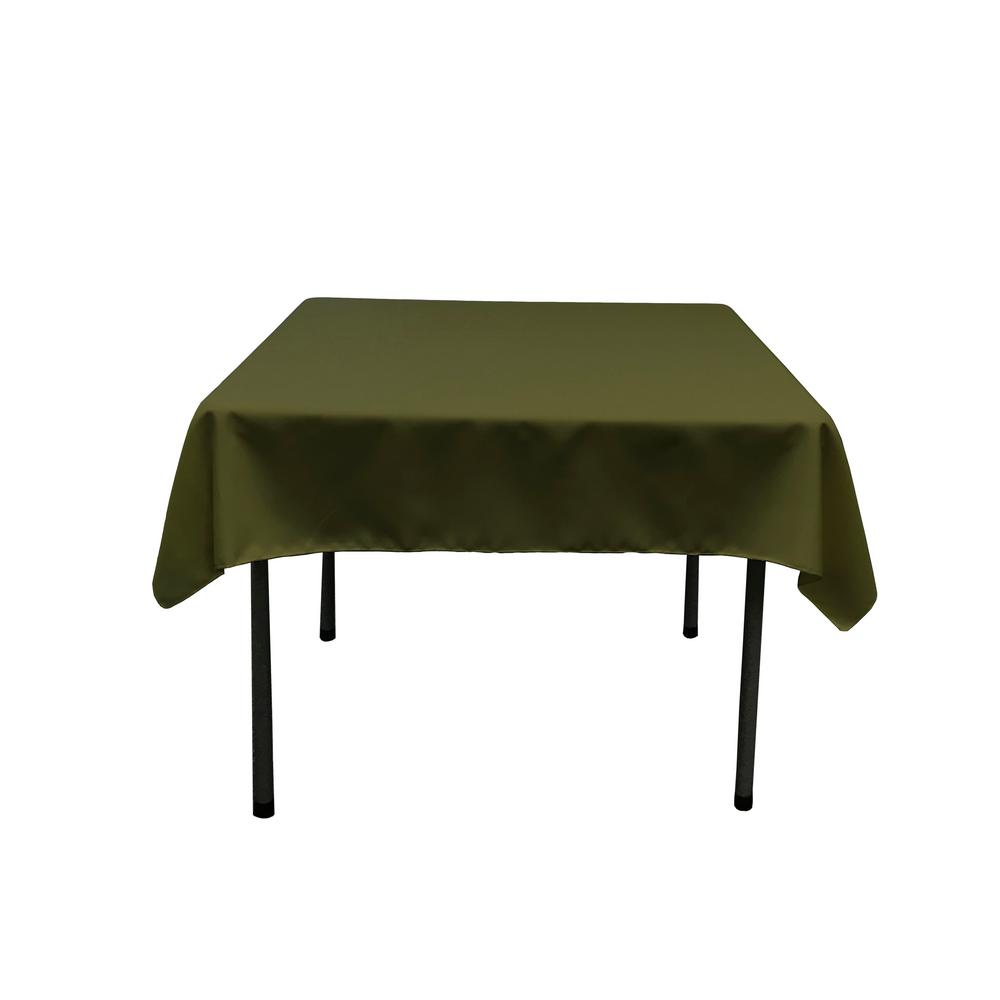 La Linen 52 In By 52 In Olive Polyester Poplin Square Tablecloth