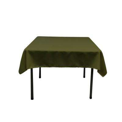52 in. by 52 in. Olive Polyester Poplin Square Tablecloth