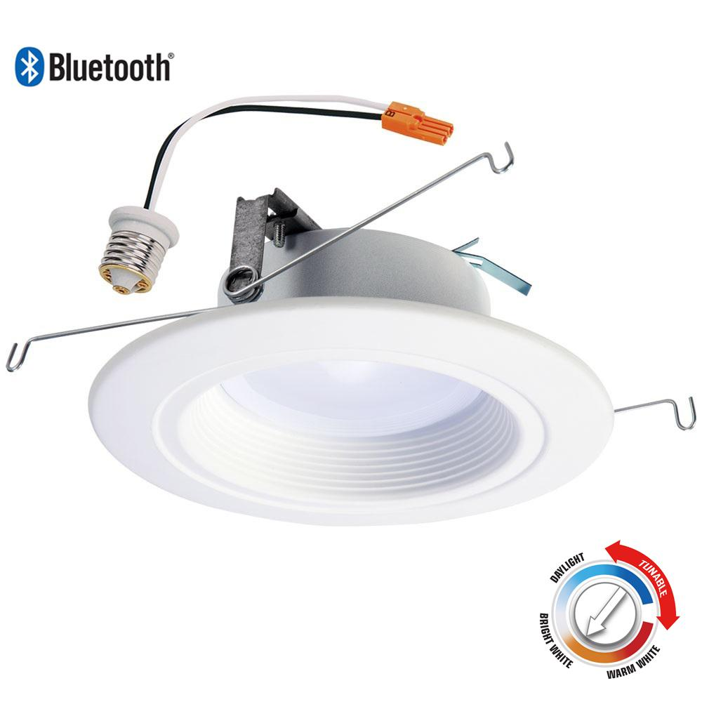 Halo RL 5 in. and 6 in. White Bluetooth Smart Integrated LED Recessed Ceiling Light, Tunable CCT (2700k-5000K) by HALO Home