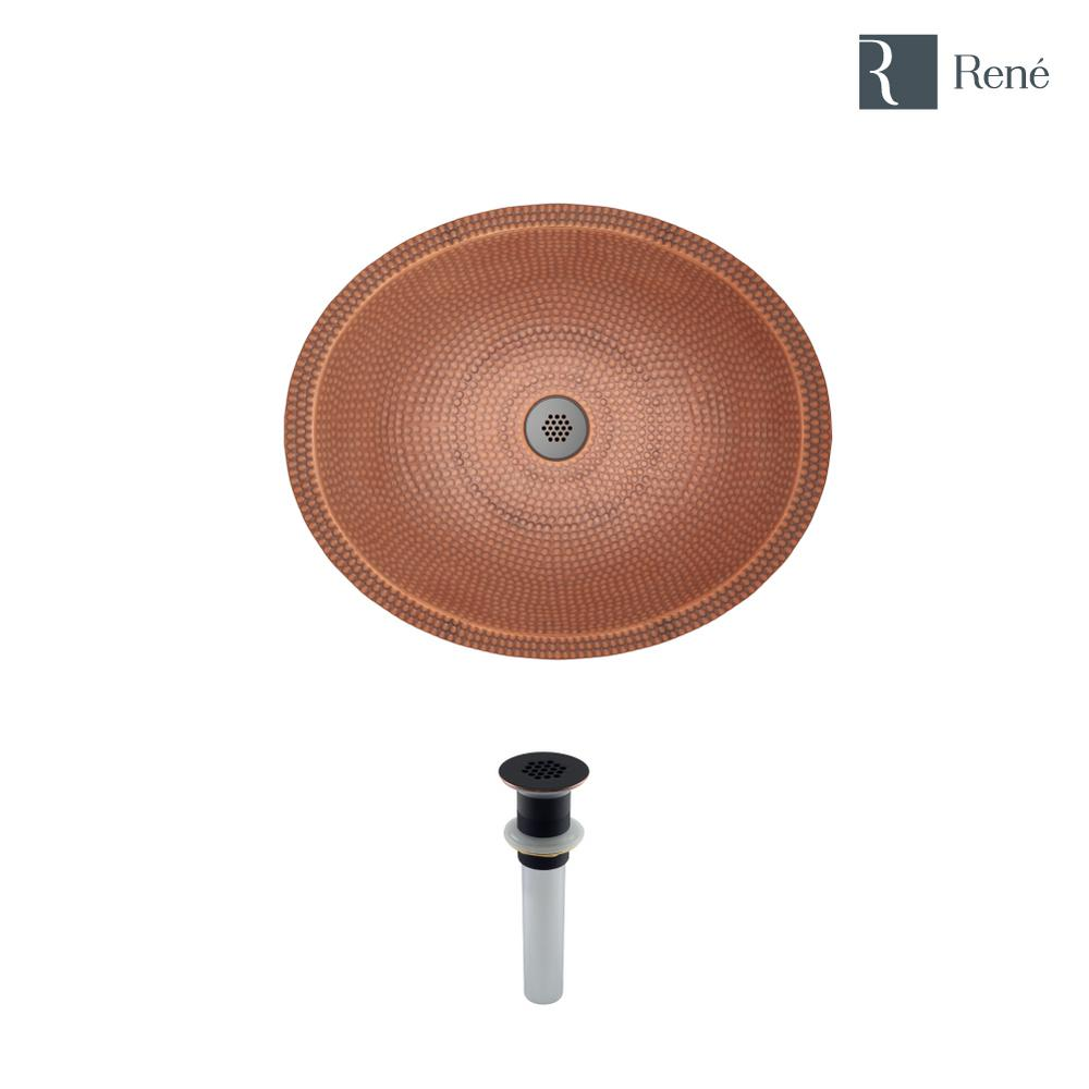 Rene Dual-Mount Bathroom Sink in Copper with Grid Drain in Antique Bronze