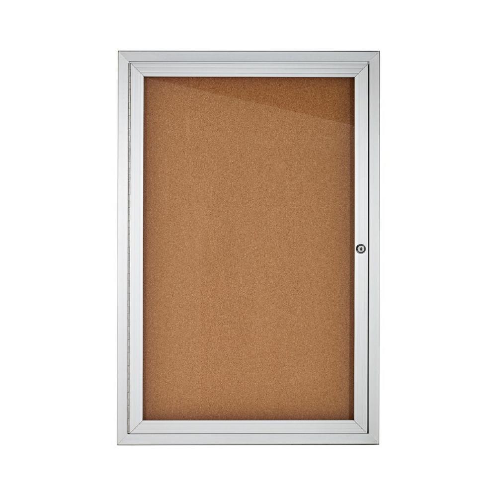 24 in. x 36 in. Grey Lockable Enclosed Cork Board Bulletin Memo Board