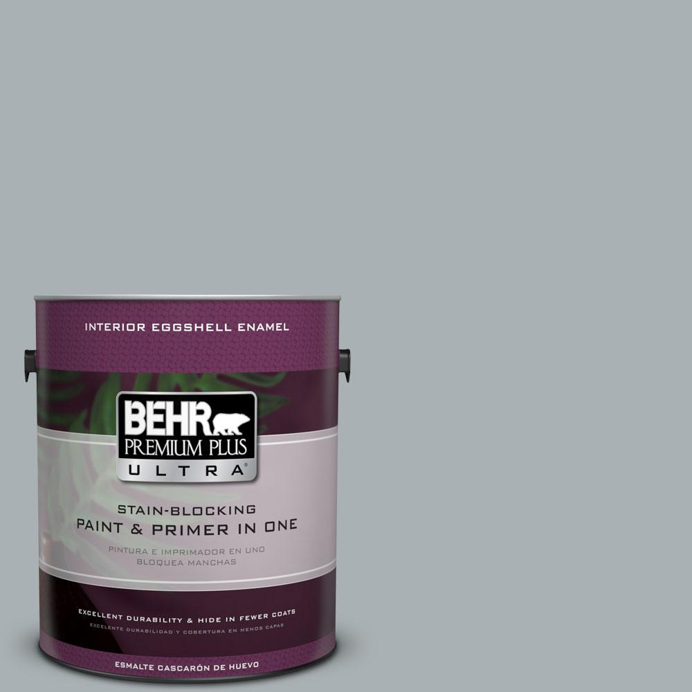 1 gal. #730F-4 Flint Smoke Eggshell Enamel Interior Paint and Primer