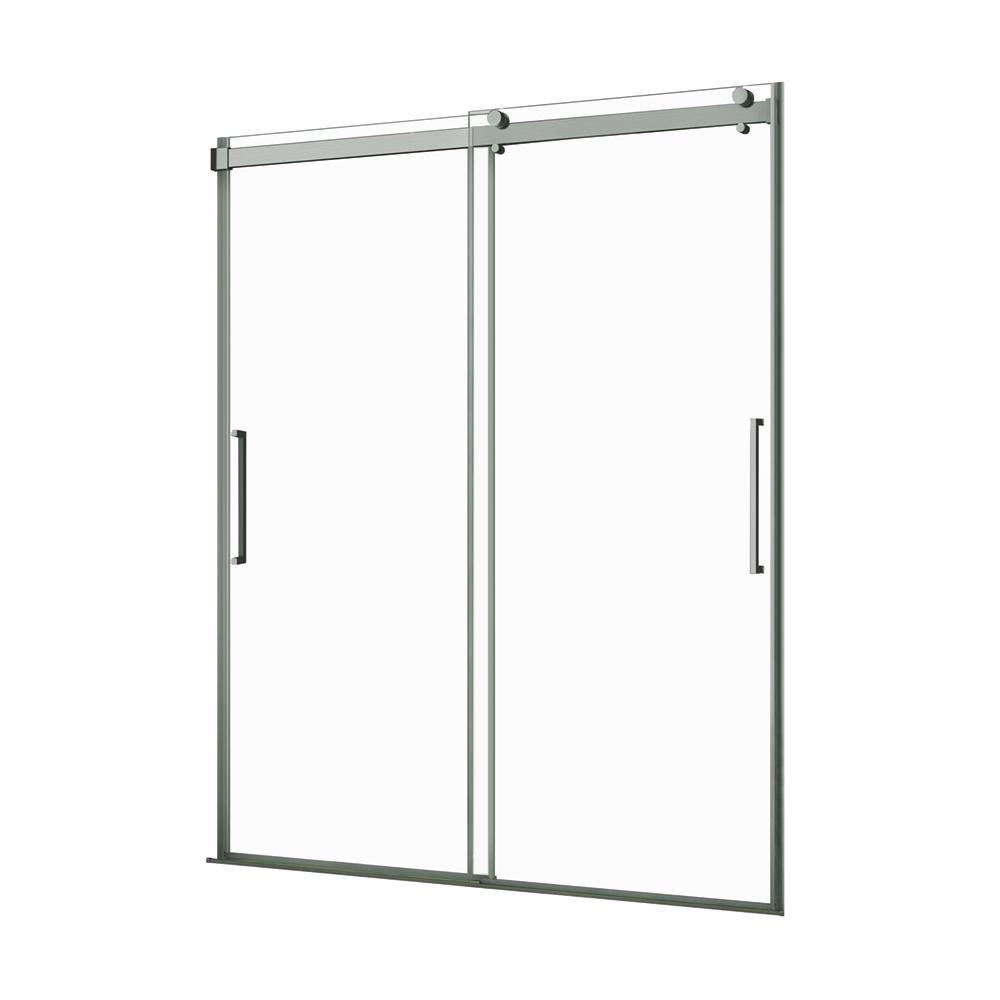 Lagoon 60 in. W x 76 in. H Frameless Sliding Shower Door in Brushed Nickel with Vertical Handles