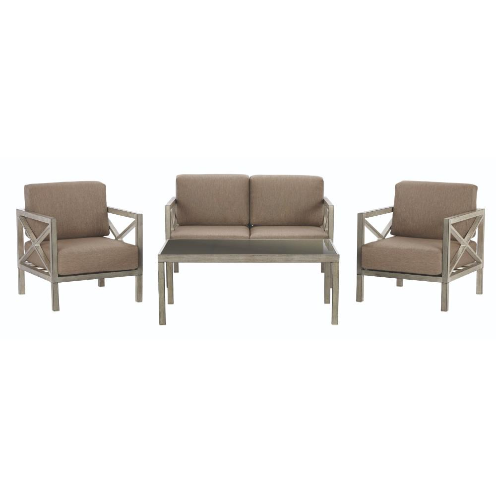 Home Decorators Collection Alessandria 4 Piece Metal Patio Conversation Set  With Grey Cushions 9870700800   The Home Depot