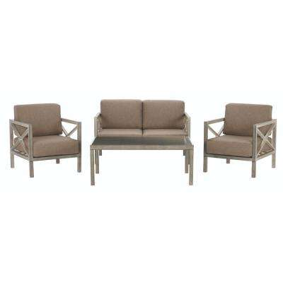 Alessandria 4-Piece Metal Patio Conversation Set with Grey Cushions