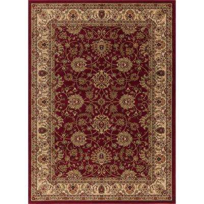 Ankara Mahal Red Rectangle Indoor 9 ft. 3 in. x 12 ft. 6 in. Area Rug