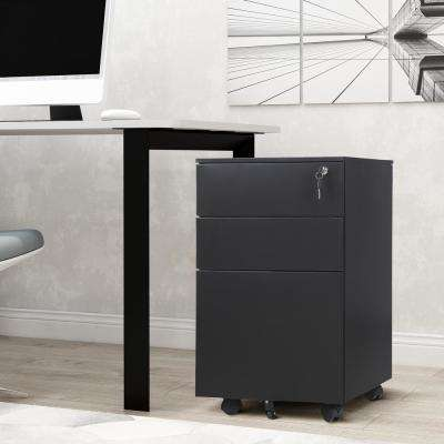 Black Mobile 3-Drawers File Cabinet Fully Assembled Except Wheels