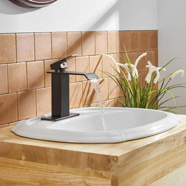 BWE Waterfall Oil Rubbed Bronze Commercial Bathroom Vessel Sink Faucet Deck Mount Faucets