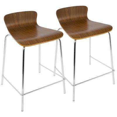 Wood Stacker 24 in. Walnut Stackable Counter Stool (Set of 2)