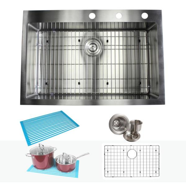 Drop In Top Mount 16 Gauge Stainless Steel 33 In X 22 In X 10 In Single Bowl Kitchen Sink Combo Arl Rt3322 The Home Depot