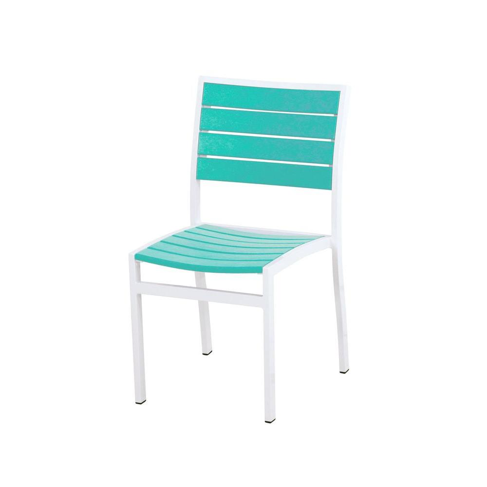 Euro Satin White/Aruba Patio Dining Side Chair