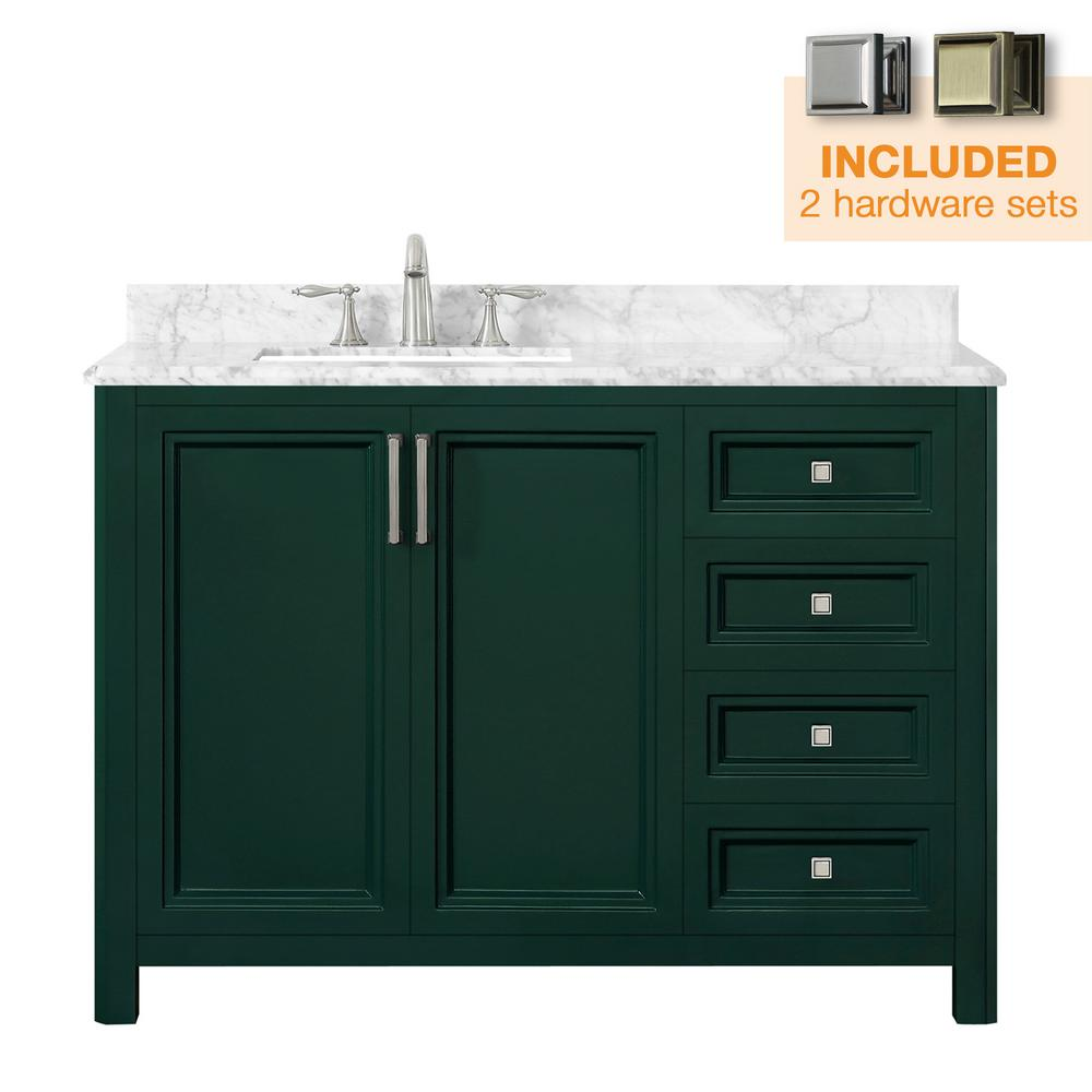 Home Decorators Collection Sandon 48 in. W x 22 in. D Bath Vanity in Emerald Green with Marble Vanity Top in Carrara White with White Basin
