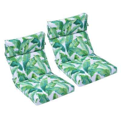 21.5 in. x 44 in. Hanalei Outdoor High Back Dining Chair Cushion (2-Pack)