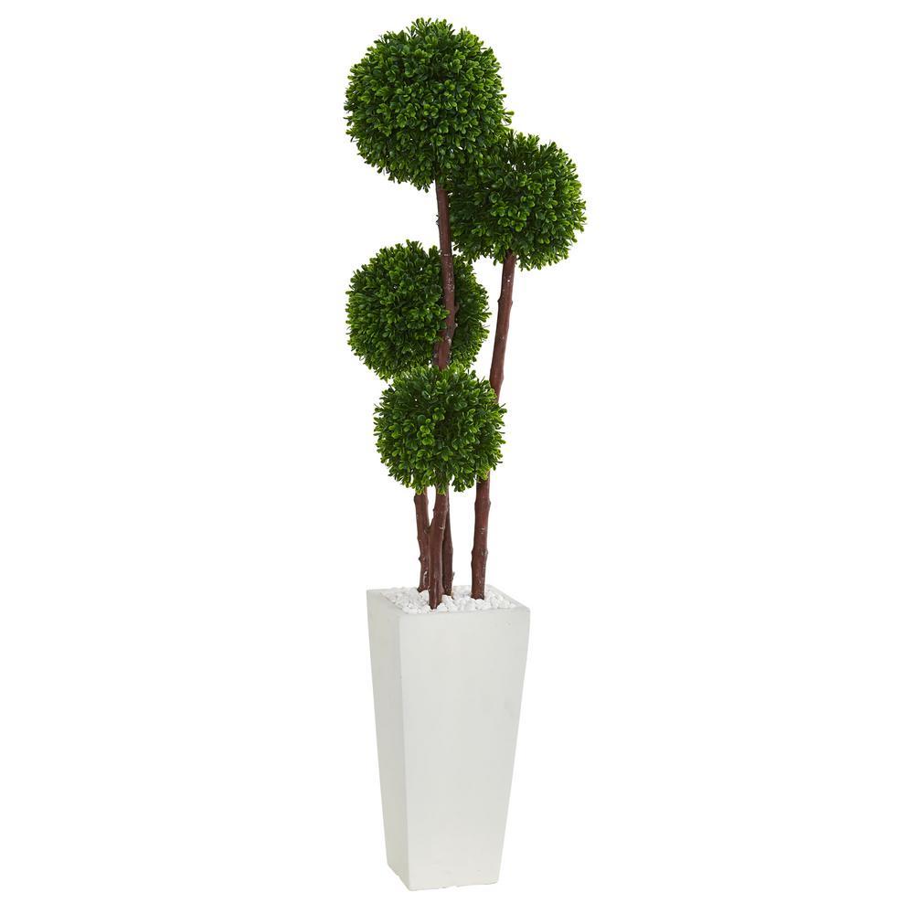 4 in. UV Resistant Indoor/Outdoor Boxwood Artificial Topiary Tree in Planter