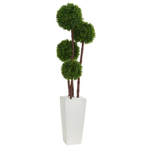Uv Resistant Indoor Outdoor Boxwood Artificial Topiary Tree In Planter