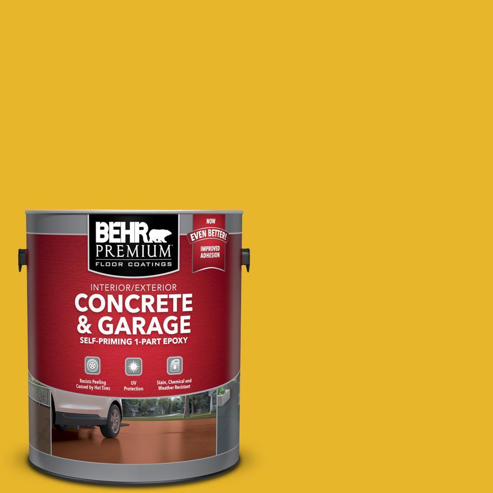 BEHR Premium 1 gal. #OSHA-6 OSHA SAFETY YELLOW Self-Priming 1-Part Epoxy Satin Interior/Exterior Concrete and Garage Floor Paint