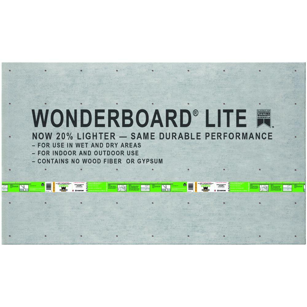 Custom Building Products WonderBoard Lite 5 ft. x 3 ft. x 1/4 in. Backer Board