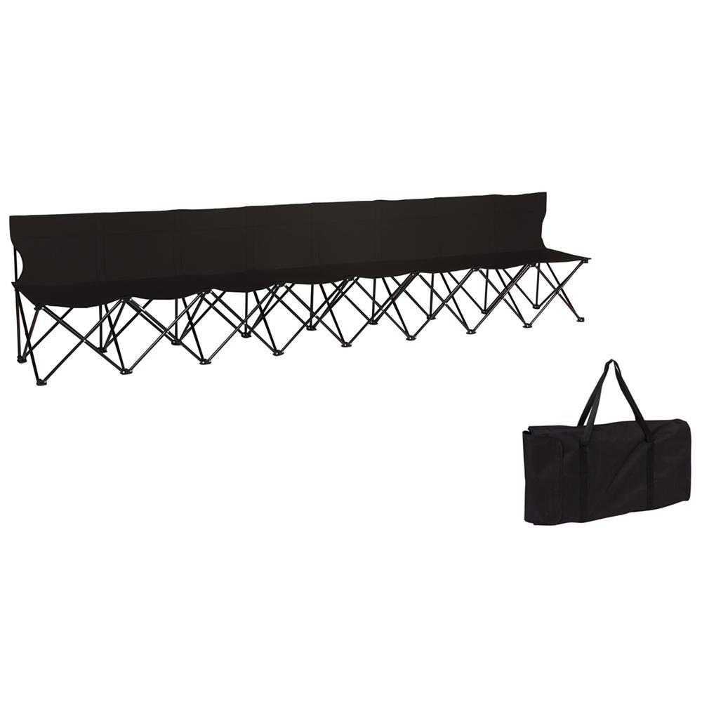 Brilliant Trademark Innovations Portable 8 Seater Folding Black Team Sports Sideline Chair With Back Creativecarmelina Interior Chair Design Creativecarmelinacom