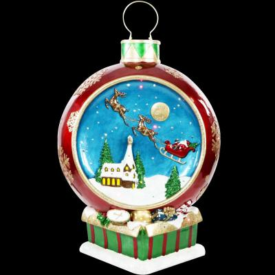 34.5 in. Christmas Musical Santa and Flying Sleigh Ornament in Red with Long-Lasting LED Lights