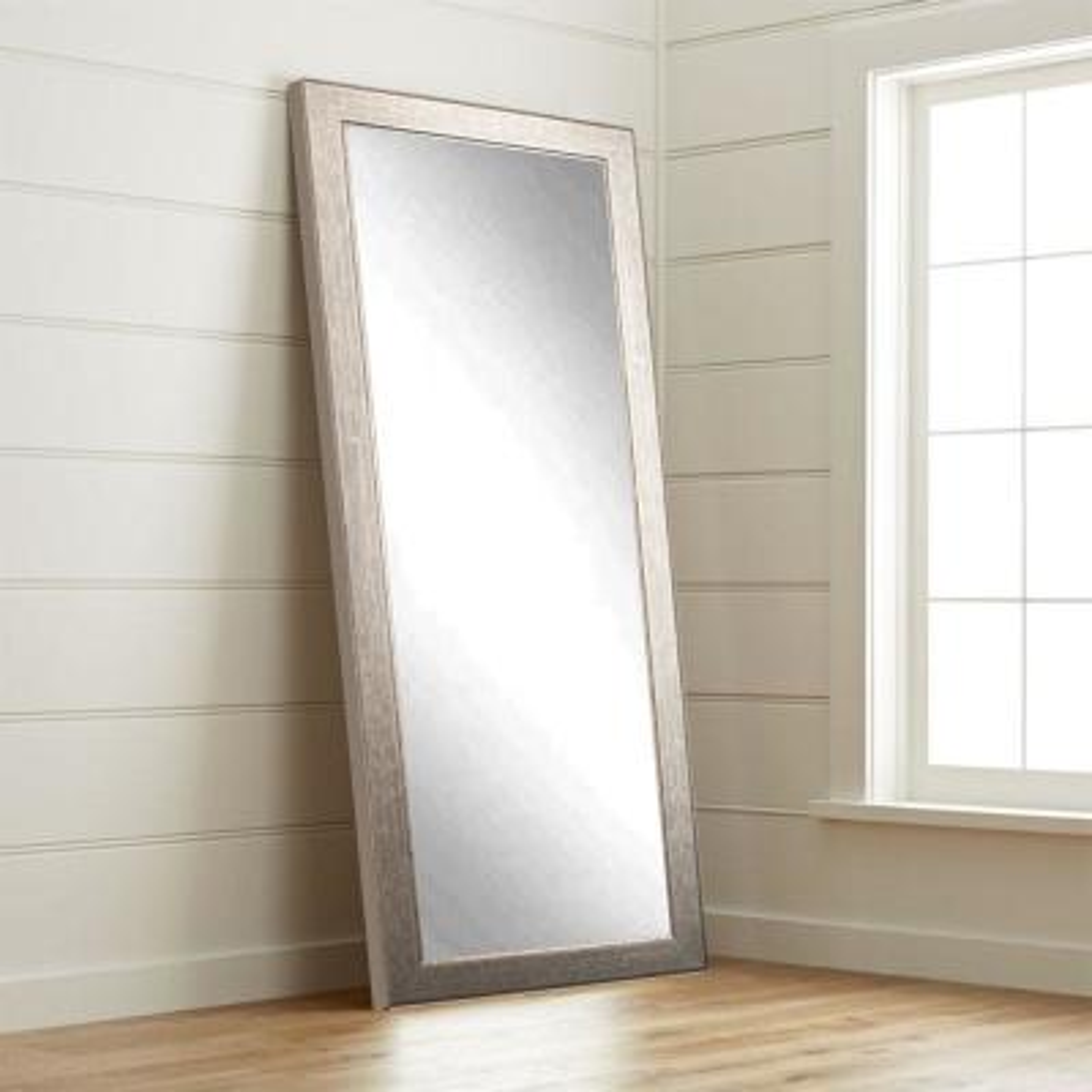 Medium Aged Silver Composite Hooks Modern Mirror (32 in. H X 65.5 in. W)