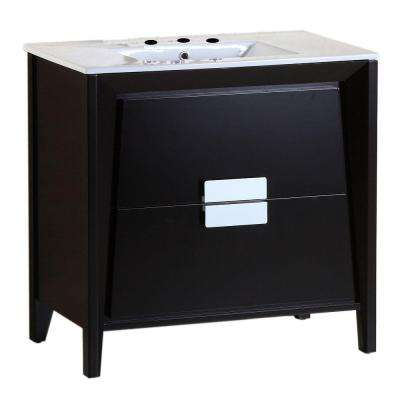 Calistoga 36 in. W x 18 in. D Single Vanity in Dark Espresso with Ceramic Vanity Top in White with White Basin