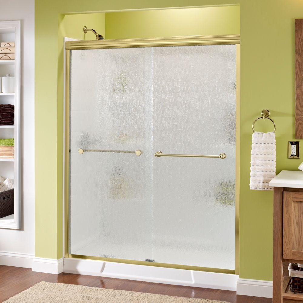Crestfield 60 in. x 70 in. Semi-Frameless Sliding Shower Door in Brass with Rain Glass