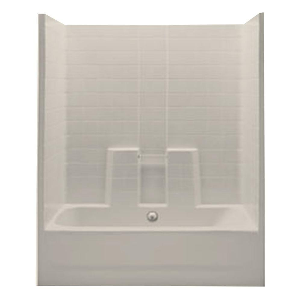 1 Piece Bath And Shower Kit With Center Drain In Bone