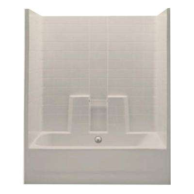 Everyday 60 in. x 30 in. x 74 in. 1-Piece Bath and Shower Kit with Center Drain in Bone
