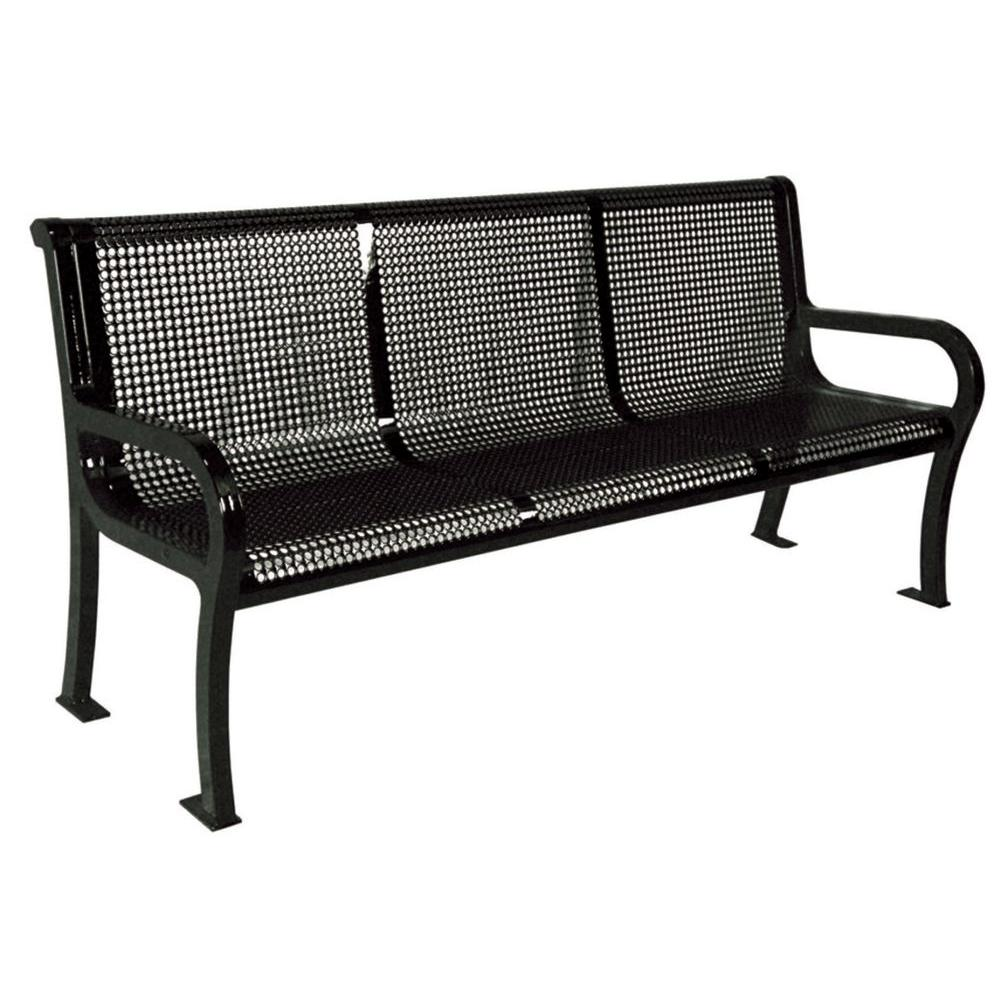 Ultra Play 6 ft. Perforated Black Commercial Park Lexington Portable Bench with Back Surface Mount