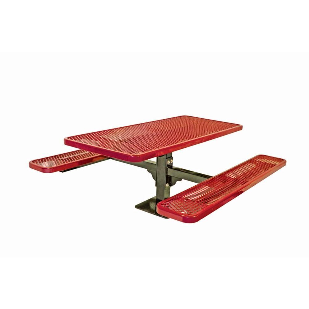 6 ft. Diamond Red Commercial Park Single Pedestal Rectangular Surface Mount Table