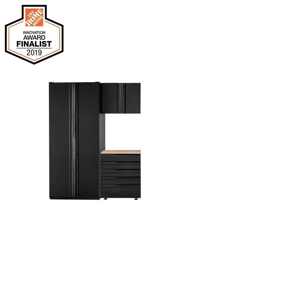 Heavy Duty Welded 64 in. W x 81 in. H x 24 in. D Steel Garage Cabinet Set in Black (3-Piece)