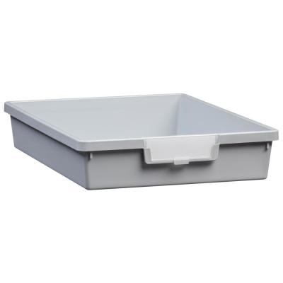 2 Gal. - Tote Tray - Slim Line 3 in. Storage Tray in Light Gray