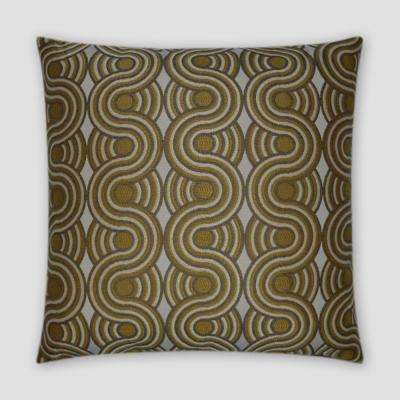 Groove Yellow Feather Down 18 in. x 18 in. Standard Decorative Throw Pillow