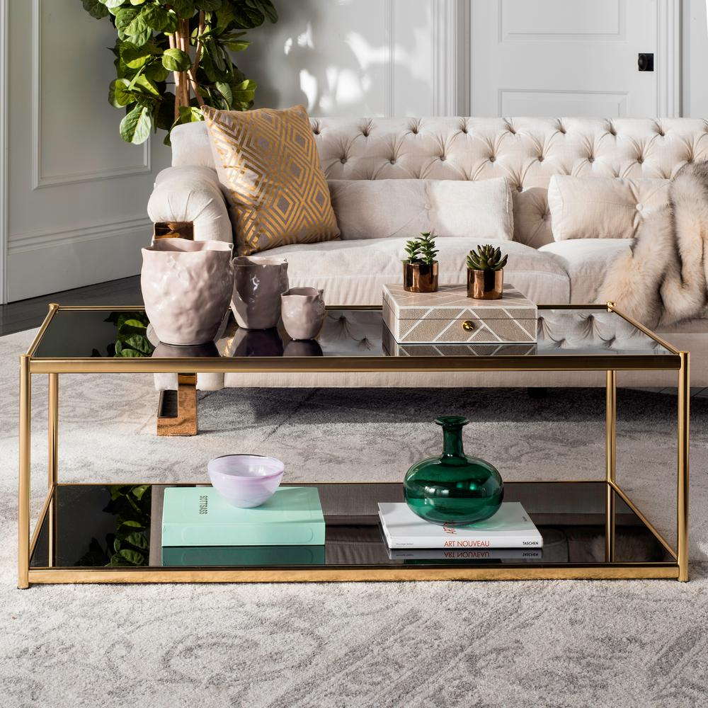 safavieh zola glass gold coffee table mmt6000b the home depot. Black Bedroom Furniture Sets. Home Design Ideas