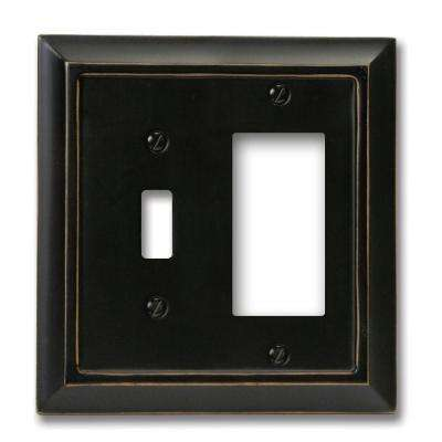Distressed 1 Toggle and 1 Decora Wall Plate - Black