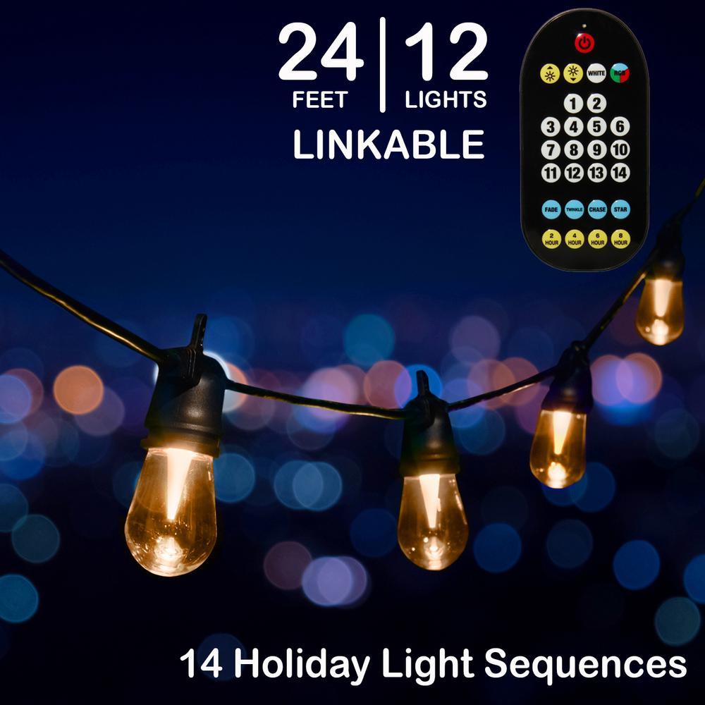 24 ft - 12 Color Changing Shatter Proof LED Lights - Holiscapes Holiday Cafe Bistro Lights - 14 Holiday Light Sequences