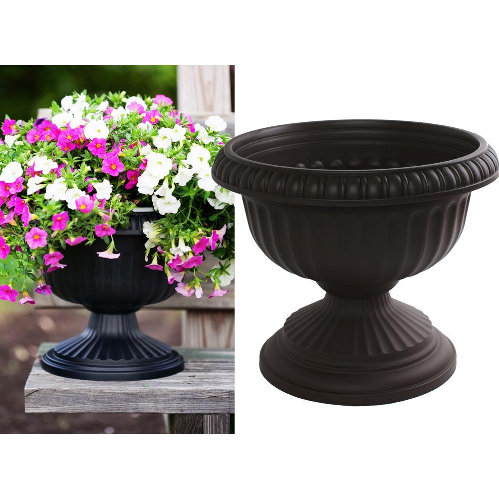 Grecian 12 in. Black Plastic Urn Planter