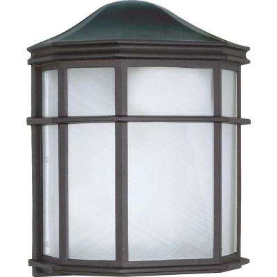 1-Light Outdoor Textured Black Cage Lantern Wall Fixture with Die Cast Linen Acrylic Lens