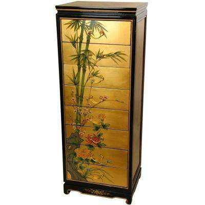 Oriental Furniture Gold Leaf Lacquer Eight Drawer Cabinet