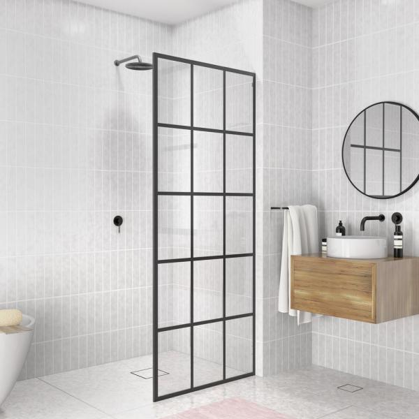 French Monture Noir 32 in. W x 78 in. H Fixed Single Panel Frameless Shower Door in Matte Black with Clear Glass