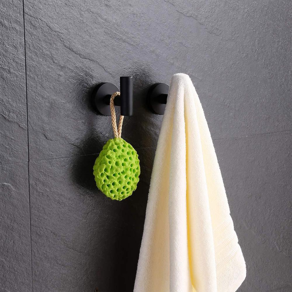 Round Bathroom Robe Hook and Towel Hook in Stainless Steel Matte Black (2-Pack)