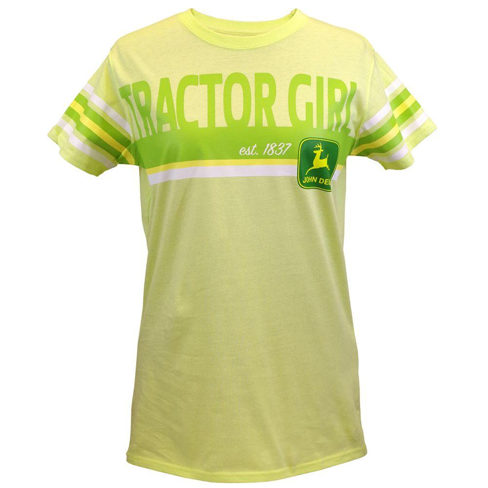 John Deere Ladies Large Tractor Girl T-Shirt in Melon