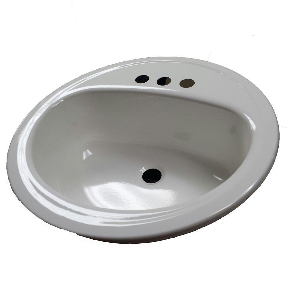 Laurel Round Drop-In Bathroom Sink in White