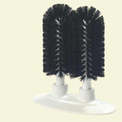 8 in. Black Bristles Twin Glass Washer (Case is 6)