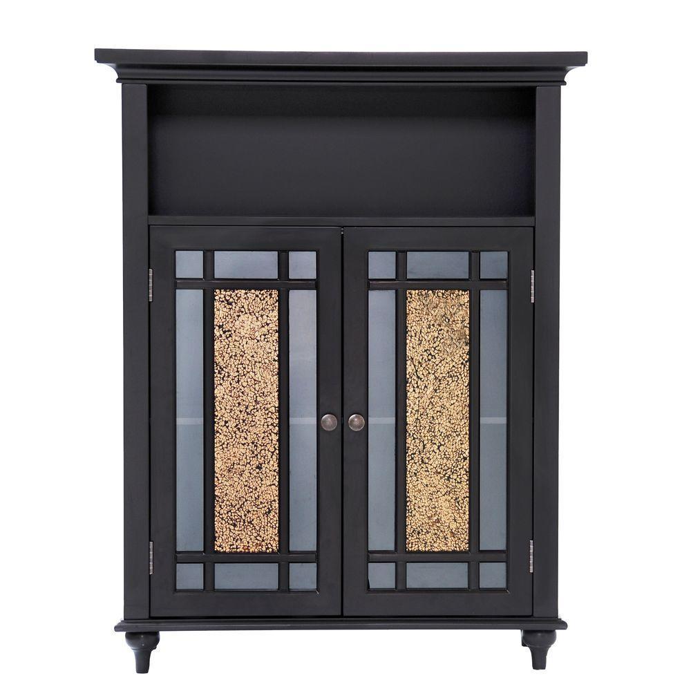 Winfield 26-1/2 in. W x 34 in. H x 12 in. D 2-Door Bathroom Linen Storage Floor Cabinet in Dark Espresso