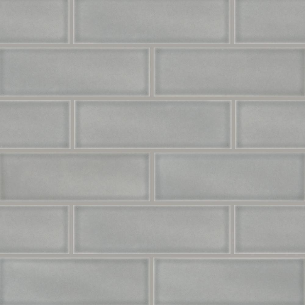 MSI Morning Fog 4 in. x 12 in. Glossy Ceramic Gray Subway Tile (5 sq. ft. / case)