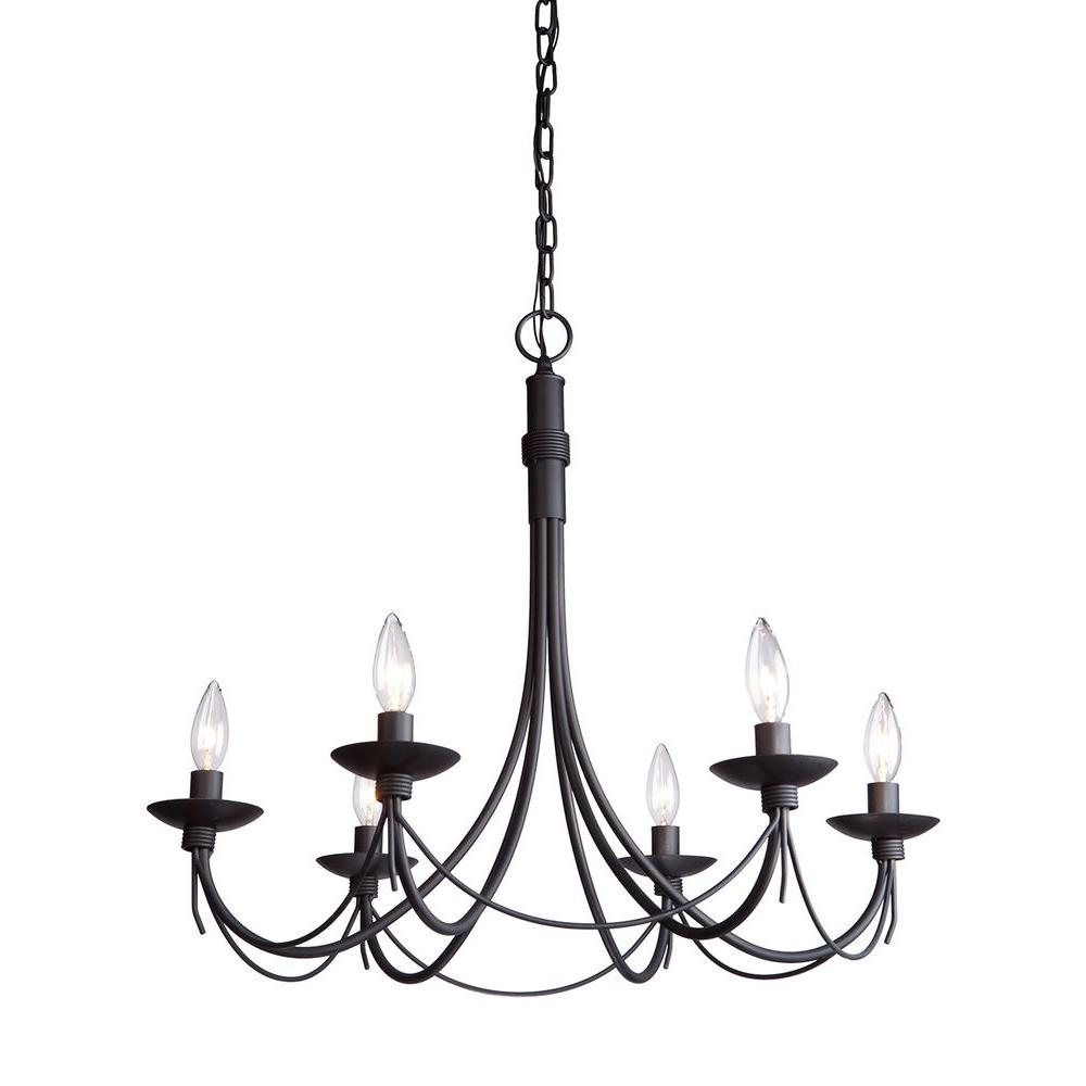 ARTCRAFT Wrought Iron Chasles 6-Light Black Chandelier Yes Its true - Made in North American. This chandelier has forged metal and is painted in black