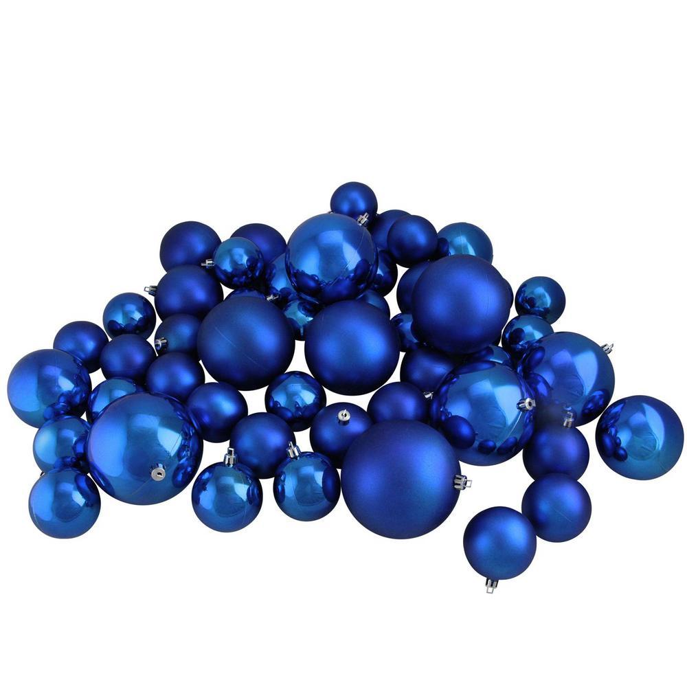 Lavish Blue Shiny and Matte Shatterproof Christmas Ball Ornaments (50-Count)