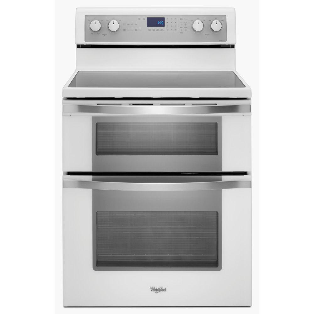 Whirlpool 6.7 cu. ft. Double Oven Electric Range with Self-Cleaning Convection Oven in White Ice